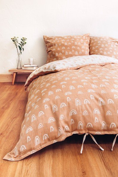 LIMAS muslin bed linen – Rainbow Ocre